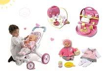 Bábiky s doplnkami sety - Set bábika Minikiss Smoby 27 cm, prebaľovací set v kufríku a kočík pre bábiku (53,5 cm rúčka) od 18 mes_14