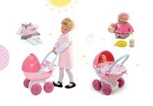 Bábiky s doplnkami sety - Set bábika Minikiss Smoby 27 cm a hlboký kočík s textilom Baby Nurse pre bábiku (56 cm rúčka) od 18 mes_12