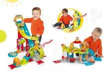 Set dětská autodráha Mega Jump Vroom Planet Smoby skákající a patrová garáž s myčkou aut