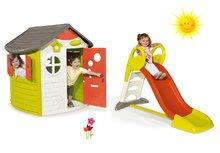 Set detský domček Jura Lodge Smoby a šmykľavka KS Toboggan s dĺžkou 150 cm od 2 rokov