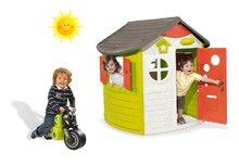 Set domček pre deti Jura Lodge Smoby s dvoma dverami a odrážadlo motorka Racing Bike od 2 rokov