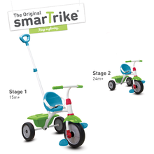 Trojkolka pre deti Fun 2v1 smarTrike s vodiacou tyčou od 15 mesiacov tyrkysovo-zelená
