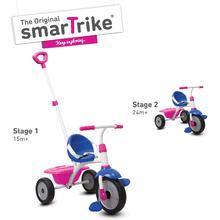 Trojkolka Fun 2v1 smarTrike s vodiacou tyčou od 15 mesiacov ružovo-fialová