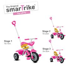 Tricikli gyerekeknek Play SmarTrike 3 az 1-ben kiesésgátlóval szabadonfutóval gumikerekekkel rózsaszín-sárga 10 hónapos kortól 1401200