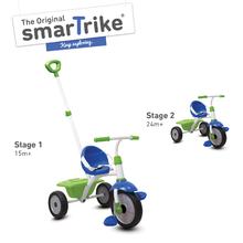 Trojkolka Fun 2v1 smarTrike s vodiacou tyčou od 15 mesiacov modro-zelená