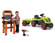 Komplet delavnica Black+Decker Smoby traktor na pedala in vrtalnik z zvokom