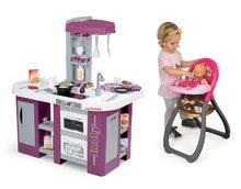 Kuchynky pre deti sety - Set kuchynka Tefal Studio XL Smoby s umývačkou riadu a chladničkou a jedálenská stolička pre bábiku Baby Nurse_20