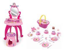 Set kozmetický stolík Disney Princezné 2v1 Smoby so stoličkou a piknikový košík s doplnkami