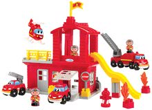 Stavebnica požiarnici so šmykľavkou Abrick Écoiffier s poschodovou garážou 3 autá a 3 požiarnici od 18 mes