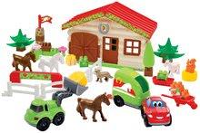 Stavebnice Abrick Farma s koníčky Écoiffier autíčko s vlečkou, koně, zvířátka, domeček s doplňky od 18 měsíců