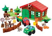Joc de construit Abrick Casa pădurarilor Écoiffier 6 animăluţe 2 maşinuţe diferite de la 18 luni