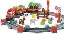 Építőjáték Vonat állatkákkal Abrick Écoiffier sínekkel és autóval 18 hó-tól
