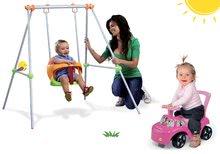 Set leagăn Portique Smoby cu construcție metalică şi mașinuță babytaxiu Minnie de la 6 luni