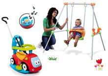 Set leagăn Smoby cu structură metalică şi babytaxiu Maestro cu volan electronic de la 6 luni