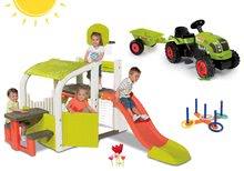 Set centru de joacă Fun Center Smoby cu tobogan, tractor Claas GM şi joc de aruncat cercuri de la 24 luni