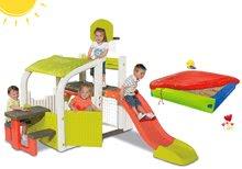 Set centru de joacă Fun Center Smoby cu tobogan cu lungimea de 150 cm şi nisipar colorat cu prelată de la 24 luni