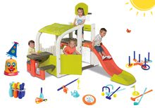 Set centru de joacă Fun Center Smoby cu tobogan cu lungime de 150 cm, claun stropitor de apă şi 7 jocuri de sport de la 24 luni