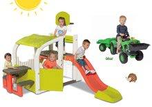 Set centru de joacă Fun Center Smoby cu tobogan şi tractor Jim Loader de la 24 luni