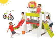 Set centru de joacă Fun Center Smoby cu tobogan cu lungime de 150 cm şi bicicletă fără pedale de la 24 luni
