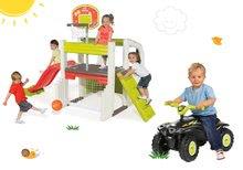 Set centru de joacă Fun Center Smoby cu tobogan şi babytaxiu cu 4 roţi Quad cu claxon de la 24 luni