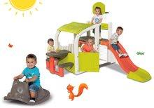 Set centru de joacă Fun Center Smoby cu tobogan și balansoar gri Pisică de la 24 luni
