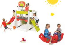 Set centru de joacă Fun Center Smoby cu tobogan şi balansoar dinozaur Sammy cu două părţi de la 24 luni