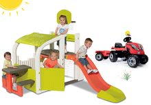 Set centru de joacă Fun Center Smoby cu tobogan cu lungime de 150 cm şi tractor RX Bull cu remorcă roşu