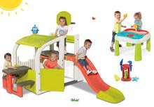 Set centru de joacă Fun Center Smoby cu tobogan şi masă Apă&Nisip 2in1 cu moară de la 24 luni