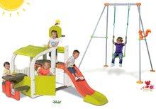 Szett játszóközpont Fun Center Smoby 150 cm csúszdával és fémvázas hinta 180 cm magas 24 hó-tól