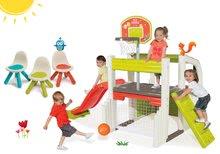 Set centru de joacă Fun Center Smoby cu tobogan şi 3 scăunele KidChair Smoby verde, albastru şi roşu de la 24 luni