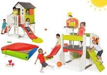 Szett játszóközpont Fun Center Smoby 150 cm hosszú csúszdával és házikó pillereken homokozóval 24 hó-tól