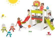 Set centru de joacă Fun Center Smoby cu tobogan şi masă de picnic cu două scăunele KidChair Red de la 24 luni