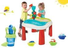 Set stôl pre deti Voda&Piesok 2v1 Smoby s mlynom, vedro set s krhlou priesvitné a 3 kusy mini čln od 18 mesiacov