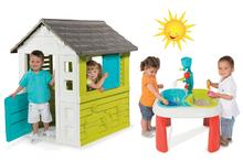 Set dětský domeček Pretty Blue Smoby a multifunkční stolek Voda & Písek 2v1 od 2 let