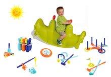 Set houpačka pro děti Tuleň Smoby oboustranná s vodotryskem a sportovní set 7 her