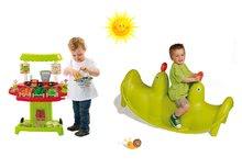 Set detská hojdačka Tuleň Smoby obojstranná s vodotryskom a zeleninový stánok so 40 doplnkami