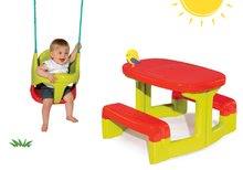 Set detská hojdačka Bebe 2v1 Smoby a detský stôl Piknik s dvoma lavicami od 18 mesiacov