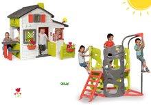 Komplet hišica Prijateljev Smoby s predhišnim vrtom in plezalo Multi-Activity Tower s toboganom