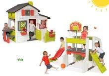 Set căsuţă Prieteni Smoby cu gărduleț și centru de joacă Fun Center cu tobogan