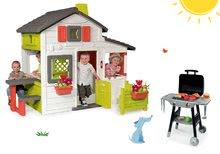 Szett házikó Barátok Smoby kiskerttel és játékkonyha Barbecue Grill élelmiszerekkel