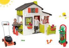 Szett házikó Barátok Smoby kiskerttel és fűnyíró Black&Decker kertész kiskocsival