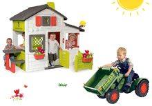 Set căsuţă Prieteni Smoby cu gărduleț și tractor cu pedale Fendt cu încărcător frontal şi claxon