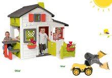 Szett házikó Barátok Smoby kiskerttel és homlokrakodó Maxi Power Worker gumikerekekkel