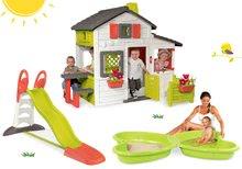 Szett házikó Barátok Smoby kiskerttel és csúszda XL 2,3 m és Pillangó homokozó