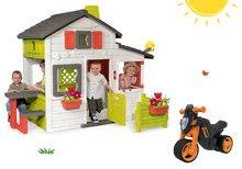 Szett házikó Barátok Smoby kiskerttel és bébitaxi kismotor Sport Bike elektronikus dudával