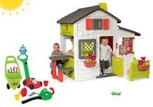 Szett házikó Barátok Smoby kiskerttel és fűnyíró és levélszívó kiskocsival