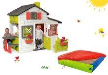 Komplet hišica Prijateljev Smoby s predhišnim vrtom in peskovnik s pokrivalom
