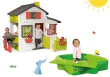 Szett gyerek házikó Barátok Smoby kiskerttel és homokozó Sandy fedéllel és vízi pályával