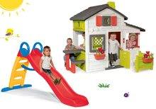 Set domček Priateľov Smoby s predzáhradkou a šmykľavka Funny Toboggan 2 metrová