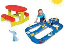 Set dětský stůl Piknik Smoby s úložným prostorem a skládací vodní hra Waterplay Niagara s lodičkami od 2 let